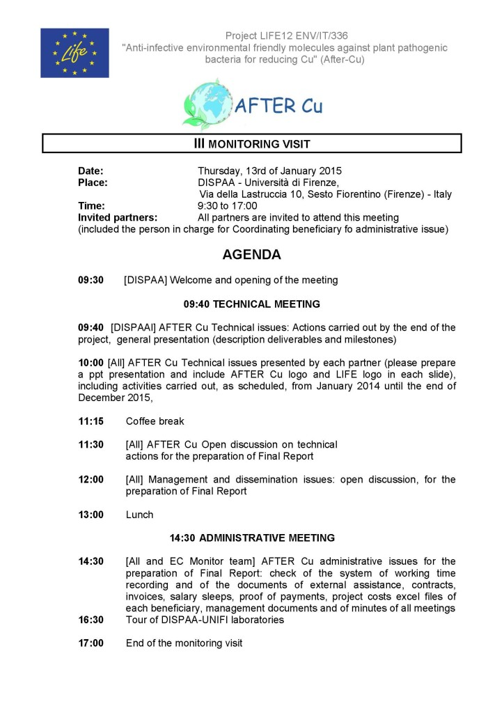 AFTERCu_IIIMonitoring_Visit_13012016_Agenda